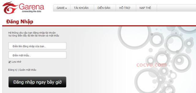 Bước 1:Đăng nhập tài khoản Garena bằng cách truy cập vào địa chỉ tại  đây:http://platform.garena.vn/account/setting/