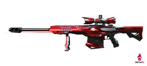 Barrett-Aurora sở hữu ngoại hình cồng kềnh nhất trong số 3 khẩu Barrett do  được tạo hình cá mập khiến ống ngắm lớn hơn và băng đạn được trang trí cầu  kì ...